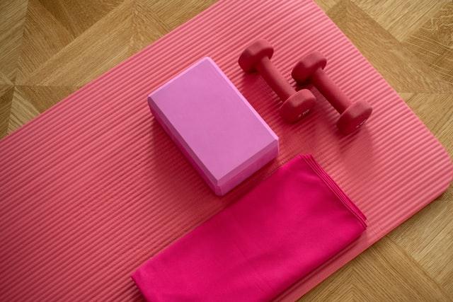 Bright pink exercising equipments,