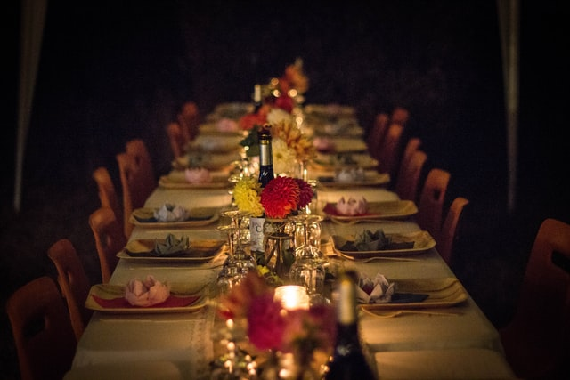 decorated dinner table.